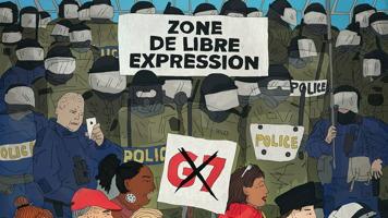 Image officielle du film : peinture de nombreuses rangées de « policiers » « anti-émeute » en vert olive, quelques agents en bleu marin, environ sept personnes manifestantes, odnt on voit seulement le haut des têtes. « Zone de libre expression ».