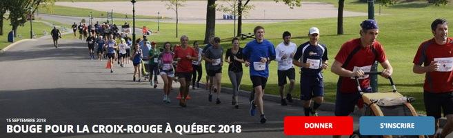 Bannière : environ 40 à 50 personnes font du jogging en groupe, sur une rue des Plaine d'Abraham. Au devant, deux hommes portant les coueurs de la Croix-Rouge avec une poussette (bébé) pour la course. Les gens ont l'air contents. Boutons « Donner » et « S'inscrire ».