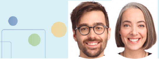Portraits souriants des deux personnes invités : jeune homme, lunettes, cheveux courts bruns ; jeune femme très souriante, cheveux semi-longs brun-roux.