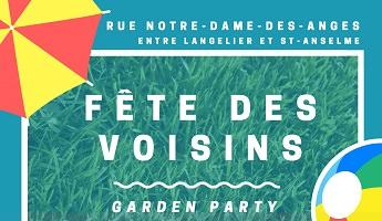 Affichette sur fond turquoise, avec un carré de gazon vert émeraude vif. Dessin d'un parasol jaune et rouge. « Garden Party »