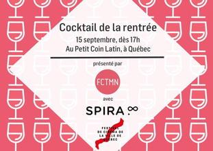 Affichette sur fond rose, dessin d'une coupe de vin : FCTMN et SPIRA.