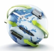 Image infographique d'un globe terrestre qui affiche simplement les continents, mais des flèches vertes limes font le tour dirigées par des petits vehicules.