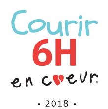 Logo : Courir 6H en coeur 2018. Lettres inégales, comme un enfant débutant. La lettre o du mot coeur est un petit coeur rouge brisé.