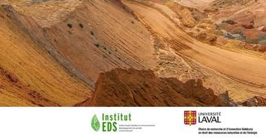 Photo de dunes désertiques formant une vallée de sable orange, quelques rares plantes. Logo EDS et Univ. Laval.