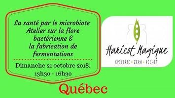 Affichette sur fond vert saturé et vif : titre et date. Logo de Haricot Magique : un haricot vert à trois pois.