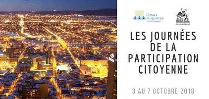 Bannière sur fond d'une photo de la ville illuminée la nuit. Les lumières ont des teintes de couleurs orange et jaune. Logo des Conseils de quartier.