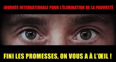 Bannière sur fond d'une photo des yeux d'une personne... « Fini les promesses, on vous a à l'oeil ! »