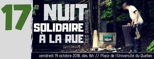 Bannière sur fond d'une photo d'un homme qui fouille dans une poubelle en bois de la Ville de Québec le long d'un parc vert. 17e Nuit solidaire à la rue - Nuit des sans-abri.