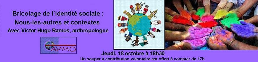 Bannière pour la soirée mensuelle du CAPMO le octobre 2018 : sur fond mauve ou violet, dessin de petits personnages vêtus comme des cultures différentes, tout autour de la Terre. Photo d'une dizaine de mains placées en cercle, couverte de couleurs vives différentes.