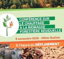 Affichete : photo d'une forêt boréale ; logo : plante à six feuilles, deux génèrent des flammes orange. 8 novembre 2018 - Hilton Québec.