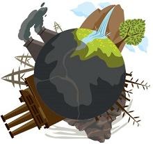 Dessin coloré de bonne qualité : planète Terre grise, sur laquelle on v oit des cheminées fumantes, des tours d'usines, des arbres morts, mais aussi une zone encore verte.