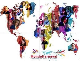 Carte du monde, mais aux couleurs vives et de nombreux visages de femmes superposés au-dessus des continents.