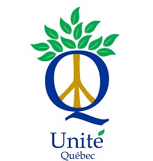 Unité Québec : lettre Q en grand et bleu ; une lettre juive doré au milieu (ressemble à un Y en envers) ; des feuilles vertes au-dessus.