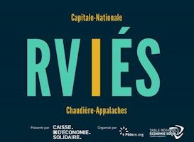 Affichette, réduite : RVIÉS Capitale-Nationale, en grandes lettres turquoise et le i est jaune. Logo de la Caisse d'économie solidaire, du PôleCN et de la TRÉSCA.