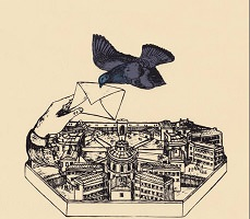 Dessin sur fond beige ancien : un oiseau noir surdimensionné agrippe une lettre avec son bec, tenue par une main surdimensionnée jaillissant de ce qui ressemble à une ville fortifiée, mais on devine être une prison.