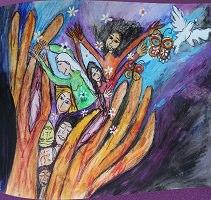 Peinture pour la journée 2018 : sur fond mauve, des personnages féminins, un papillon et un oiseau blanc jaillissent de deux mains aux longs doigts. Les mains semblent bien vaillantes.