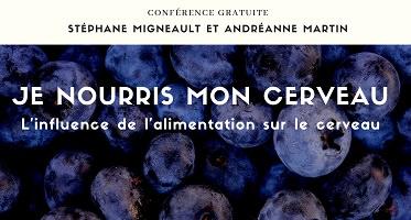 Affichette horizontale sur fond d'une photo de bleuets vues de près. Titre de la conférence et noms comme dans l'annonce ici.