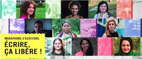 Affichette horizontale : dizaine de photos des femmes persécutées. Timbre jaune avec les mots « Marathons d'écriture - Écrire, ça libère ! »