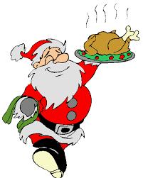 Dessin comique d'un Père Noël en serveur tenant une dinde fumante sur un plateau.