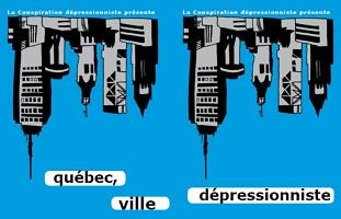 Affichette sur fond bleu ciel saturé : des immeubles en hauteur connus de la Ville de Québec, dessinés en gris et noir, mais à l'envers et par deux fois. « québec » « ville » « dépressionniste »