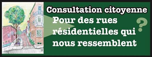 Affichette sur fond vert pomme : dessin coloré (pastelle) d'une rue résidentielle, avec arbre, trottoir large. « Consultation citoyenne pour des rues résidentielles qui nous ressemblent »