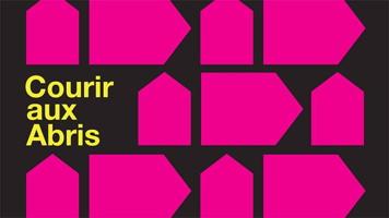 Affichette : mosaïque de formes ressemblant à des maisons, parfois de côté, toutes de couleur rose vive.