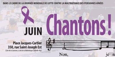 Affichette sur fond très flou d'un orchestre et d'une foule : ruban mauve. « Chantons ! ». Dessin de notes de musique.