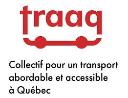 Logo : traaq en lettres rouge ; deux roues rouges dessous.