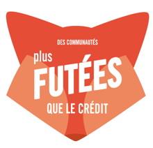 [ Forme d'une tête de renard « Communautés plus futées que le crédit ».]