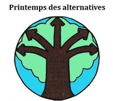 Logo : dessin d'un arbre brun foncé à cinq branches, sur fond d'un feuillage vert pomme, dans un cercle à fond bleu ciel.