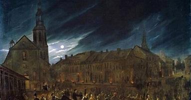 Peinture de Québec le soir : les gens sont sur la rue et le ciel est sombre et inquiétant.