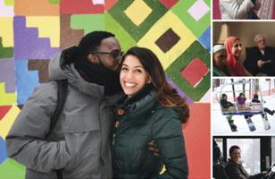Photo : un jeune adulte à la peau brune foncée, cheveux frisés courts, embrasse la joue d'une jeune femme au visage latin ou arabe. Manteaux d'hiver et mosaïque multicolore derrière. Quatre autres photos miniatures.