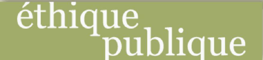 Affichette sur fond vert olive pâle : éthique politique. Lettrage blanc sombre.