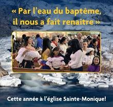 Affiche : photo de nombreuses femmes et jeunes filles vêtues de style fête latino. Derrière, une foule de gens. « Par l'eau du baptême, il nous a fait renaître.»