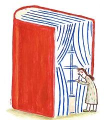 Dessin : un énorme livre rouge semi-ouvert, qui est aussi une grande fenêtre à travers laquelle regarde une dame dessinée de ma</body></html>