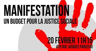 Affichette : empreinte rouge d'une main ouverte. Manifestation un budget pour la justice sociale.</body></html>