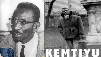 Deux photos de Cheikh Anta Diop. 1) donnant une conférence, plus âgé, lunettes et veston-cravate. 2) plus jeune, devant un cimetière, manteau et foulard d'automne.