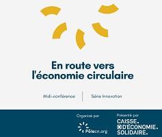 Affichette sur fond blanc : cinq lignes épaisses et courbes, de couleur jaune, forment comme une roue ou un demi-soleil.Logo PôleCN et Caisse d'économie solidaire.