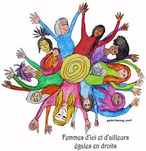 Dessin pour le comité Femmes d'ici et d'ailleurs égales en droit : plusieurs personnages féminins, multicolores, autour d'une spirale.</body></html>