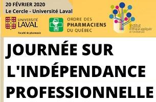 Version réduite de l'affiche : trois logo, soient Univ. Laval ; Ordre des pharmaciens (sic) du Québec ; Institut de l'éthique appliquée.
