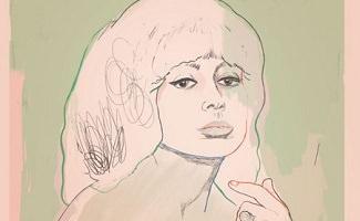 Dessin de Pauline Julien sur fond peinture verte pastelle et bordure rose pastelle. Elle regarde vers l'avant, lèvres avancées, sa main gauche levée, doigts détendues, vers son menton. Chevelure volumineuse.