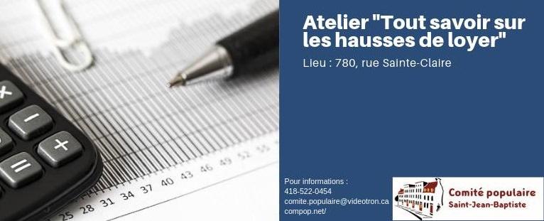 Affichette sur fond bleu : photo d'une calculatrice et d'un stylo sur une feuille de papier. Info : 418 522-0454