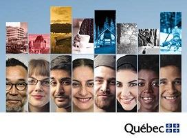 Sur fond bleu ciel, mosaïque de plusieurs images. Au haut, huit lieux différents, avec filtre couleur, dont bleuté pour celles en hiver. Au bas, huit portraits : hommes et femmes d'apparences diverses.