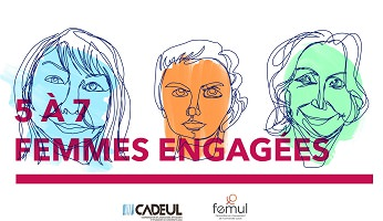 Affichette sur fond blanc : dessin de trois portraits, peu de traits au crayon. Trois visages de femmes : une bleu ciel, une orange, une verte pâle. Logo : CADEUL, FEMUL.