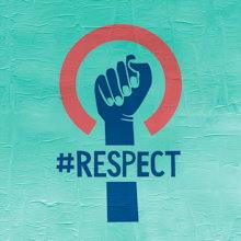 Image pour 2019 : le symbole habituel des femmes est modifié comme suit. Au lieu d'une croix à l'envers, c'est un poign et la barre est le mot #respect.</body></html>