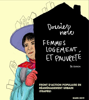 Page couverture du rapport 2019 : dessin d'une femme tenant un panneau noir portant le titre. Elle porte un chapeau violet à bordures larges. Dessin de bâtiments au-dessus du chapeau.</body></html>