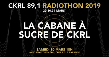 Affichette sur fond noir : des lignes fines et grises forment des onde, ainsi qu'un cercle au milieu. Radiothon 29, 30 et 31 mars 2019.