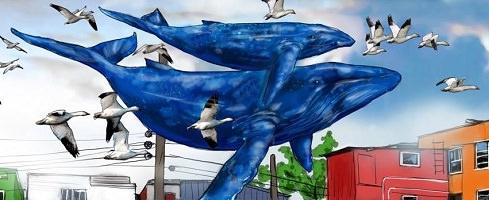 Peinture : deux baleines bleu foncé volent dans le ciel, accompagnées de nombreux oiseaux migrateurs.</body></html>