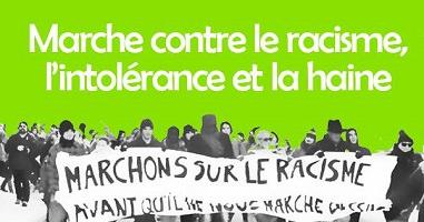 Affichette sur fond vert lime : photo noir et blanche de gens manifestant avec une grande bannière blanche « Marchons sur le racisme avant qu'il ne nous marche dessus »,