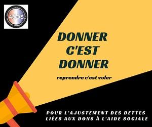 Affichette carrée : une tranche en noir, l'autre tranche en jaune pour représenter la lumière projetée sur le sujet: « Donner c'est donner - reprendre c'est voler - Pour l'ajustement des dettes liées aux do</body></html>